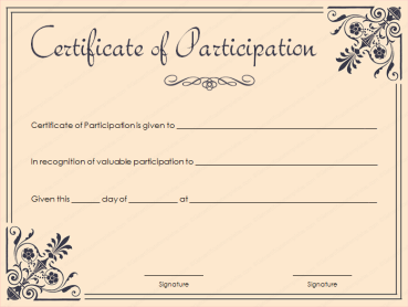 Coral Certificate Of Participation Template Free Printable