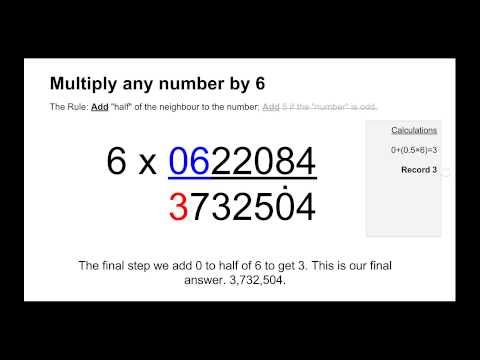 Trachtenberg System - Multiply by 6 Method (Be Faster than a