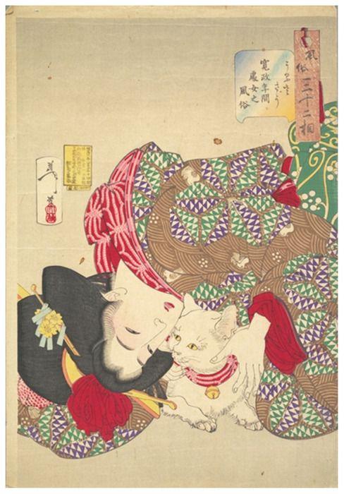 Tsukioka Yoshitoshi, A young woman from Kansei period playing with her cat