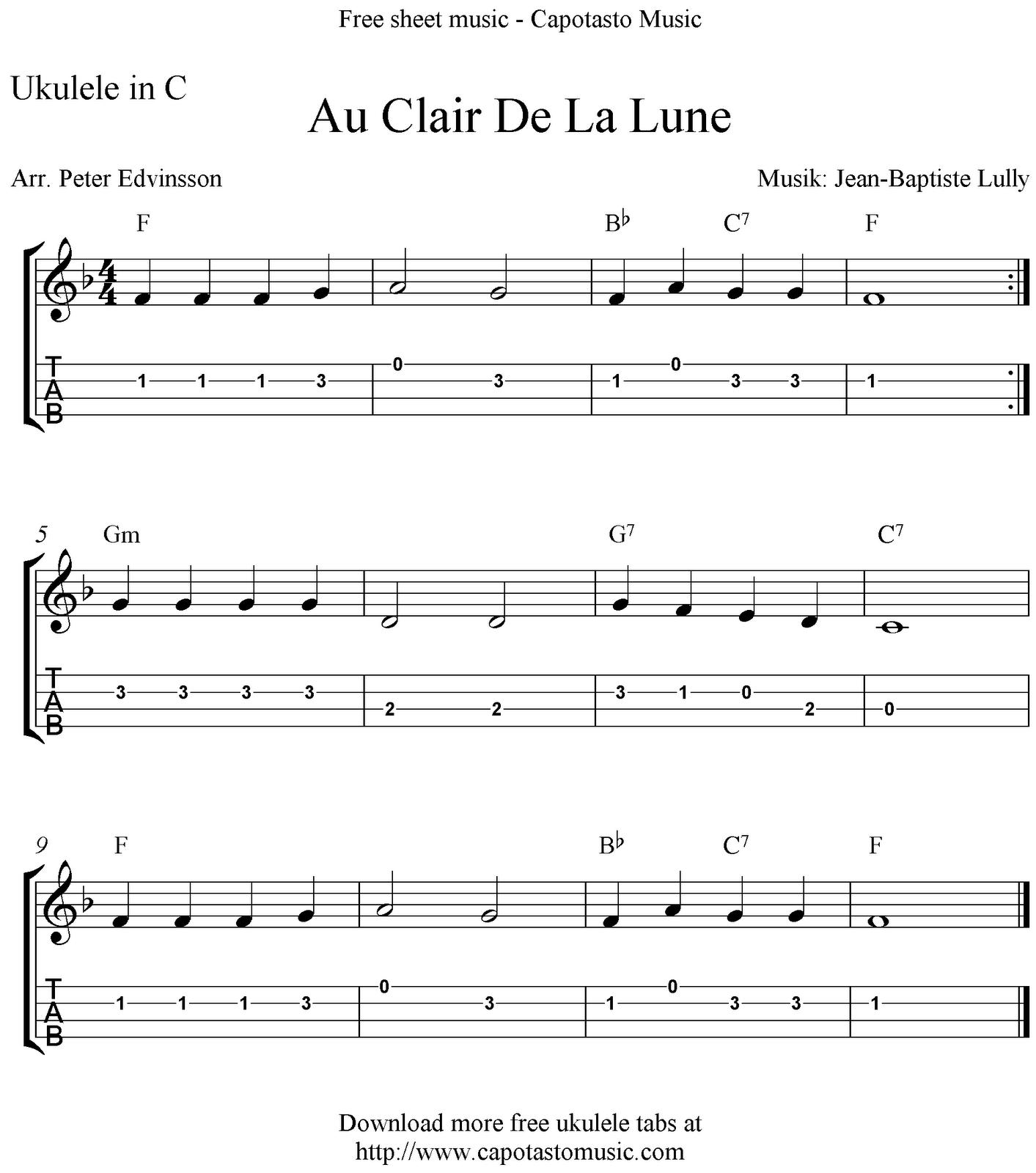 Au Clair De La Lune Ukulele Sheet Music  Free