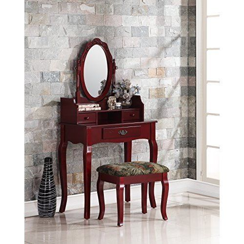 Cherry Wood Vanity With Stool Set Make Up Dressing Table This Stylish Contemporary Vanity With Stool Set Comes With Swivel Adjustab Vanity Table Set