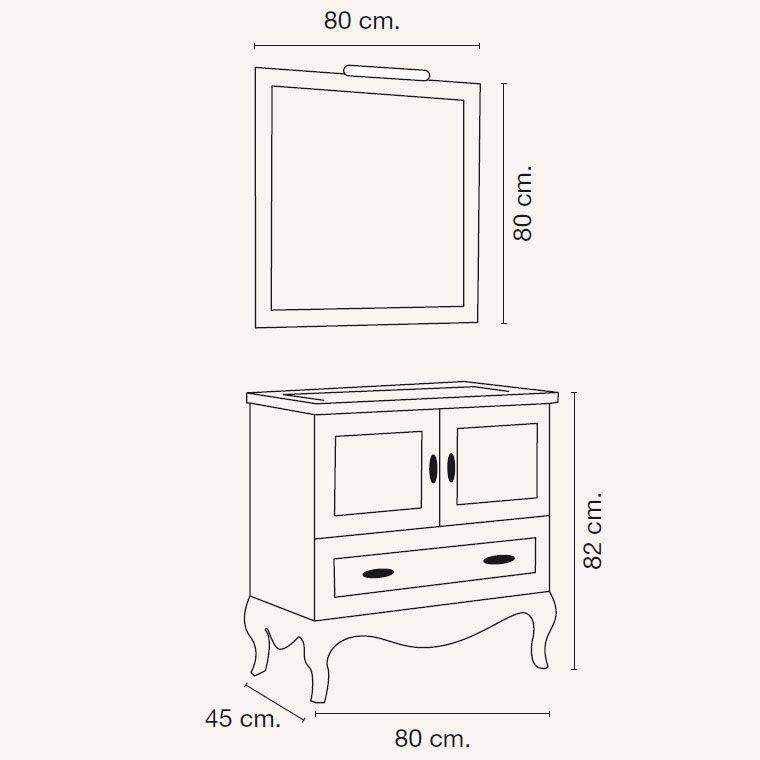 medidas mueble de baño estefanía 80 x 45 cm. | banos | pinterest ... - Medidas Muebles Bano