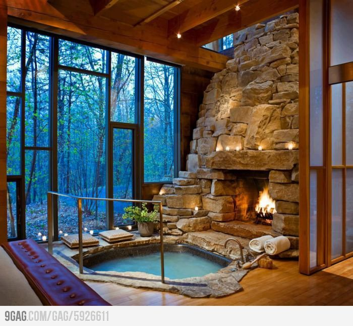 My dream home: an indoor fireplace and hot tub. | Hot tubs, Tubs and ...