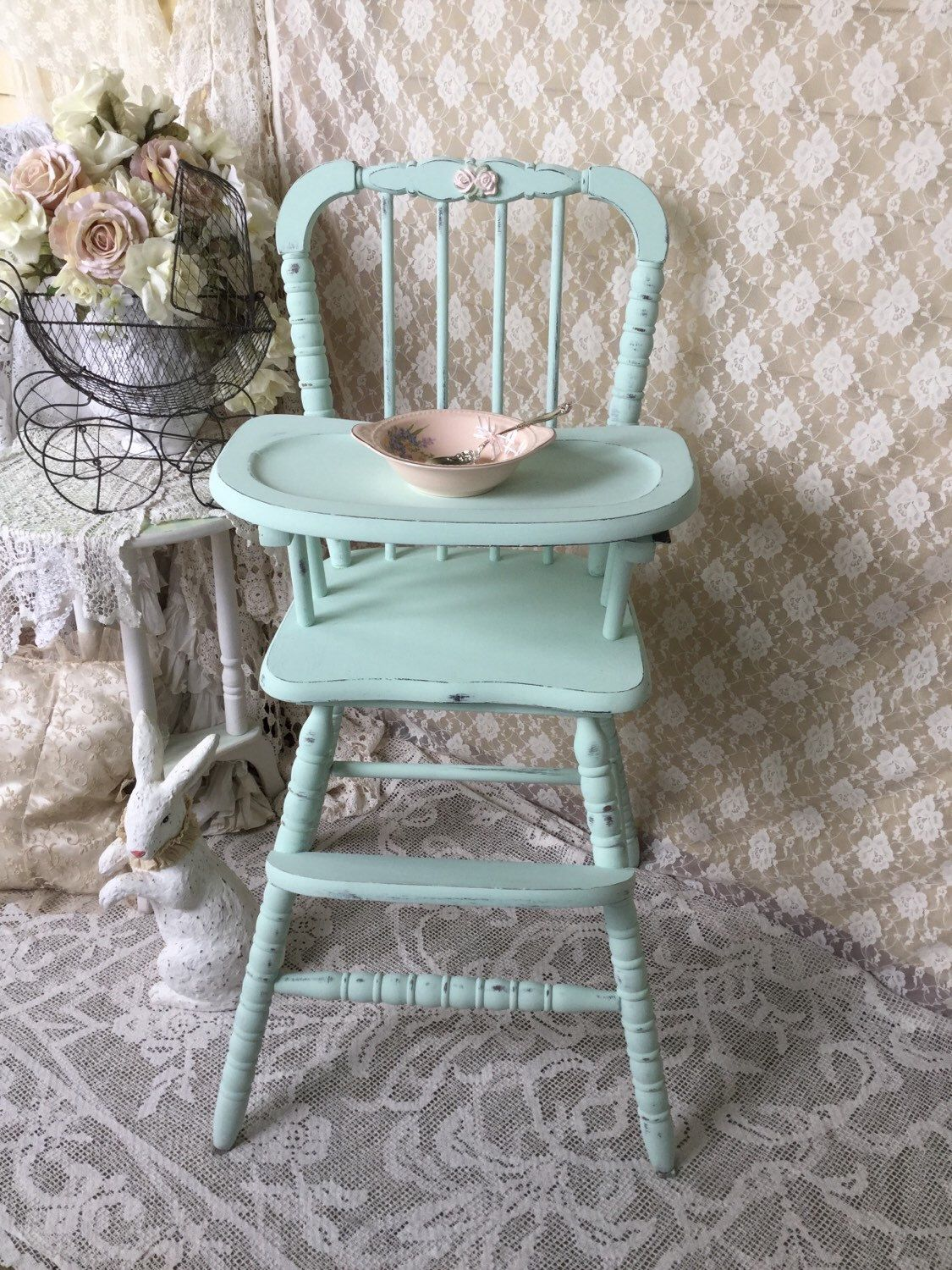 Antique high chair bentwood - Shabby Mint Green Vintage High Chair Jenny Lind Baby Chair Painted High Chair Shabby Cottage Baby Seat French Farmhouse Shabby Chic