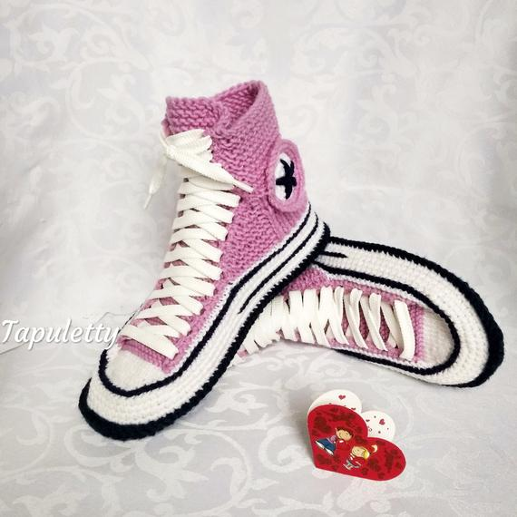 2c9f3138d3e4 Valentine s Day present for girlfriend Knitted converse boots 39 Women  socks slippers house Crochet