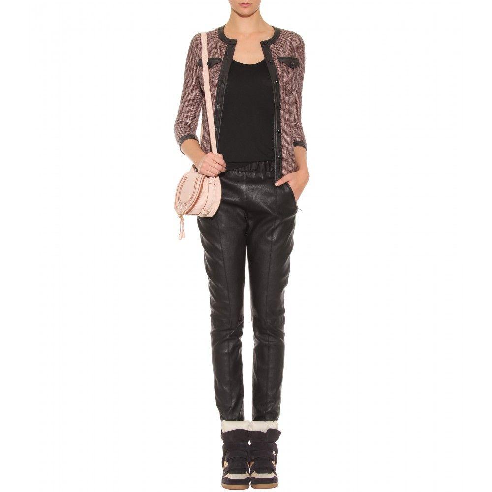 mytheresa.com - Isabel Marant - HAHNENTRITT-BLAZER MIT LEDER - Luxury Fashion for Women / Designer clothing, shoes, bags