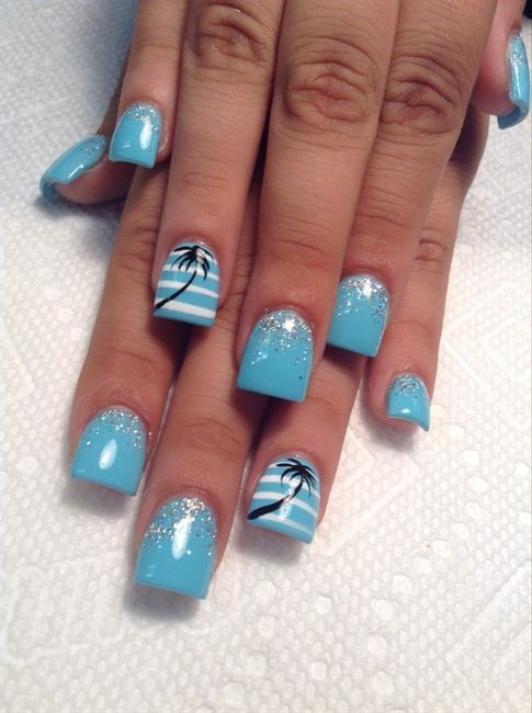 Summer Gel Beach Nail Designs : summer, beach, designs, Untitled, Tropical, Nails,, Beach, Nails