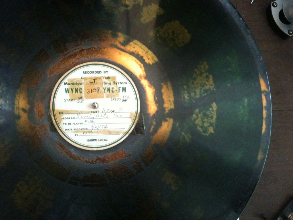 """Transcription disc with uneven nitrocellulose layer. (Note the """"WYNC"""" label!)"""