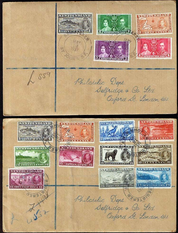 1937 Newfoundland Complete Coronation Sets on 3 First Day Covers Both short and Long sets across 2 covers SG 254 267 Scott 230 243 Other North American and British Commonwealth Stamps HERE!