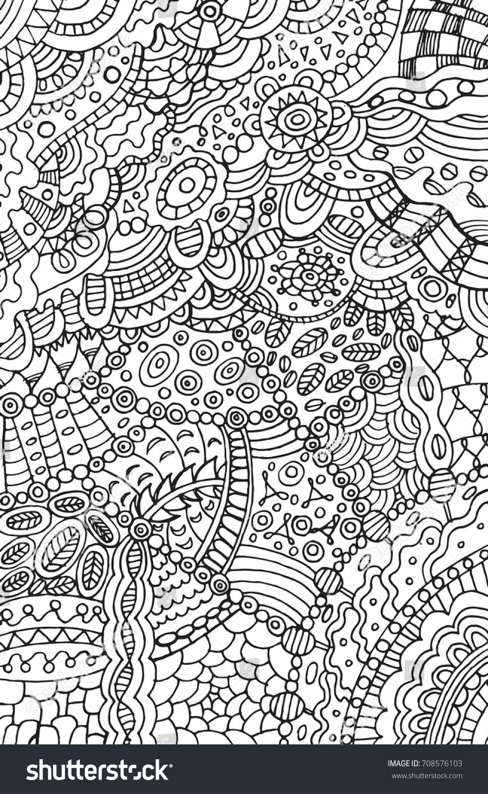 Doodle Coloring Page For Adults Background Illustration For