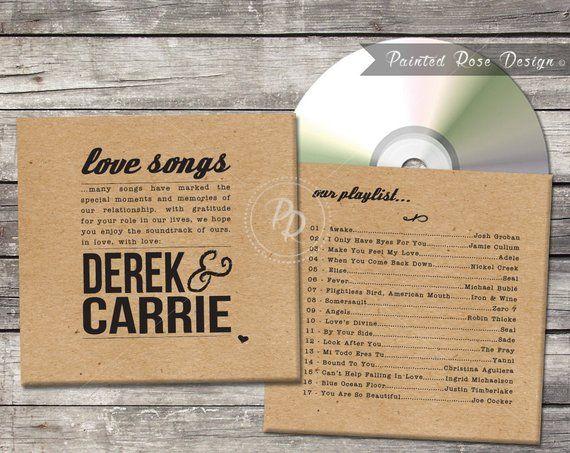 Wedding CD Case CD Sleeve DVD Cover Custom Digital Printable Favor