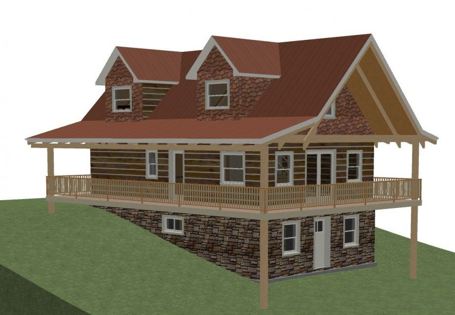 Architecture,Log Cottage House Plans With Walkout Basement With Contoured Sloping  Ground And Two Attic
