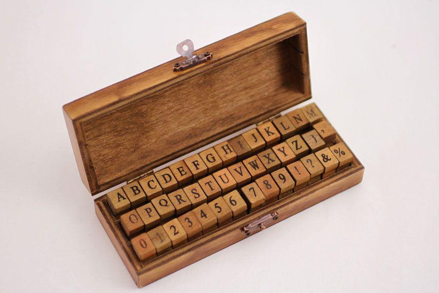 Oliday-Alphabet Wooden Stamp Set