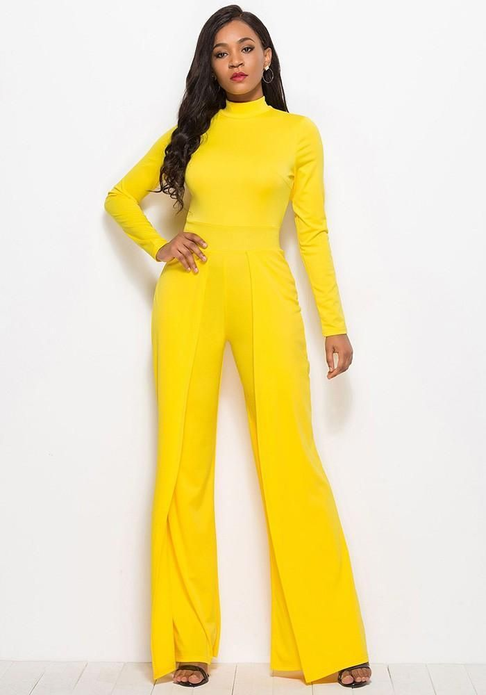 dab05cc0528 Long Sleeves High Neck Flutter Pants Wide Leg Yellow Jumpsuit