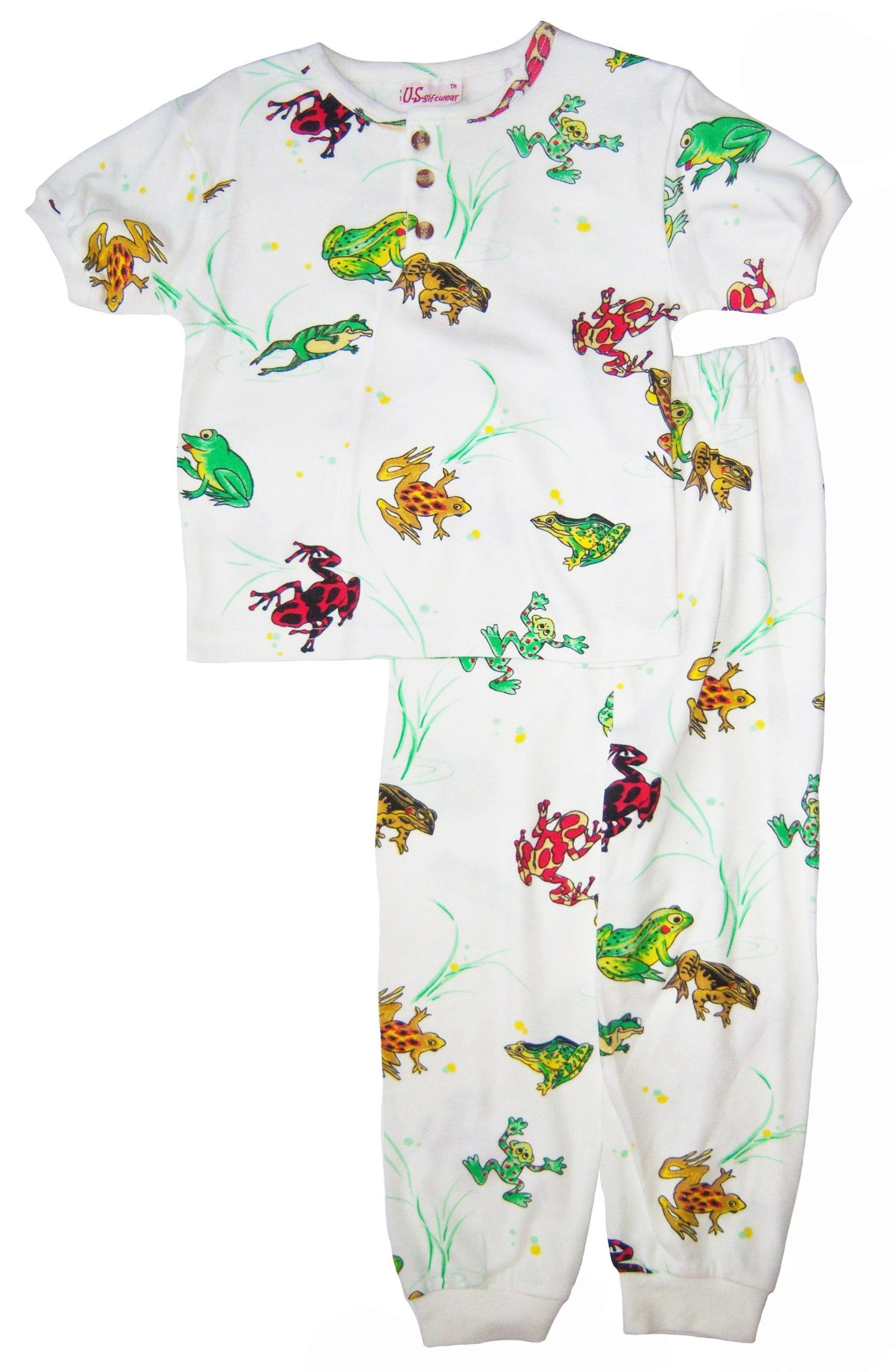 US Giftwear Unisex-child Frog Print 2-pc Pajama Set Size 3x4 Multicolor. 65% Cotton, 35% Polyester. All over prints with screen print details. Non-flame resistance. Generous size. Easy to care for machine wash and dry.