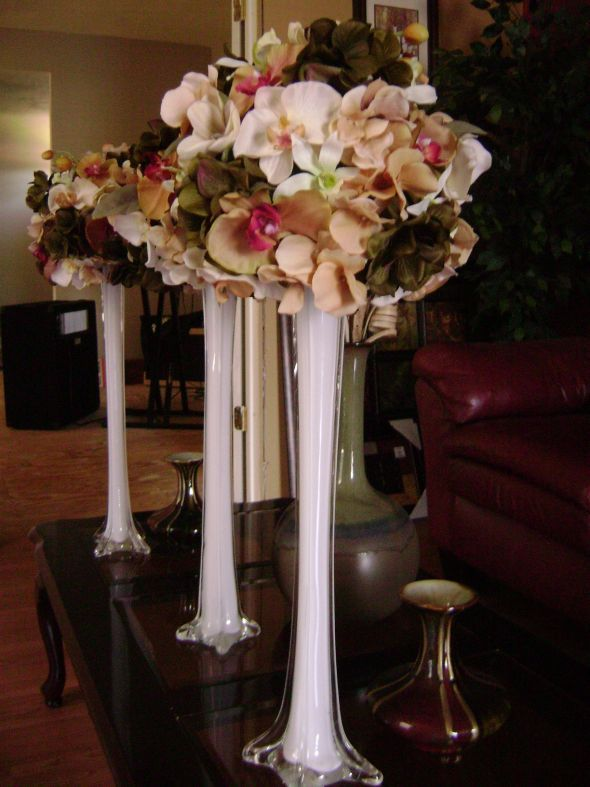 My Diy Centerpieces Wedding Champagne Diy Green Hydrangea Ivory Orchids Reception Silver Tower