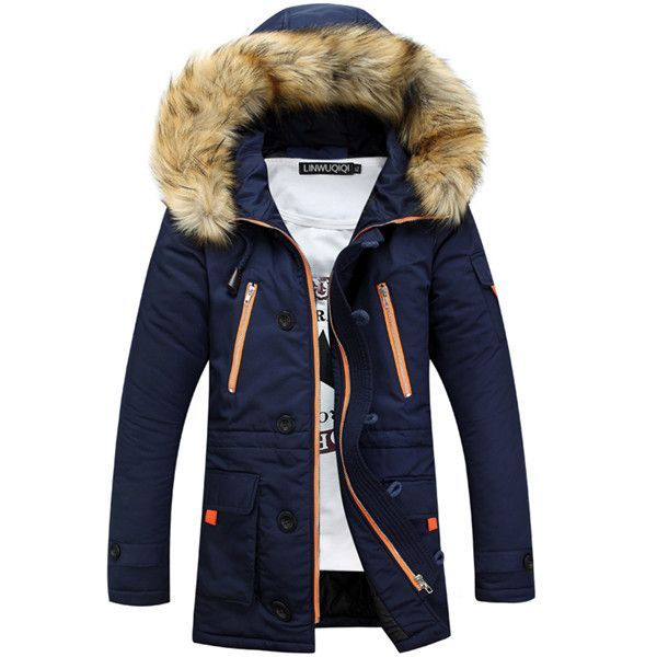 Jmwss QD Mens Padded Thicken Outwear Faux-Fur Collar Faux Fur Lined Zipper Down Jacket Coat