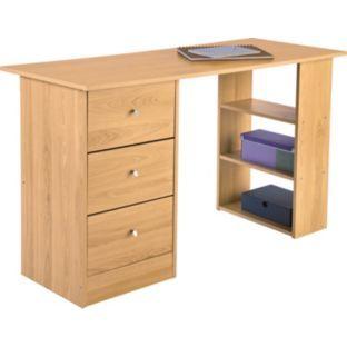 44 99 Buy Malibu 3 Drawer Desk Beech Effect At Argos Co Uk Your Online Shop For Desks And Workstations Desk With Drawers Desk Furniture