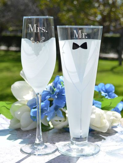 Bride And Groom Glasses Set Of Two Personalized Champagne Glass