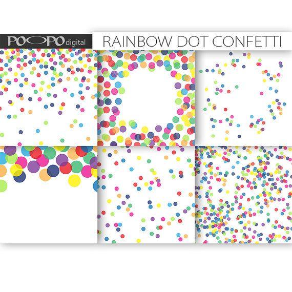 Rainbow digital paper dot scrapbook multicolor baby shower