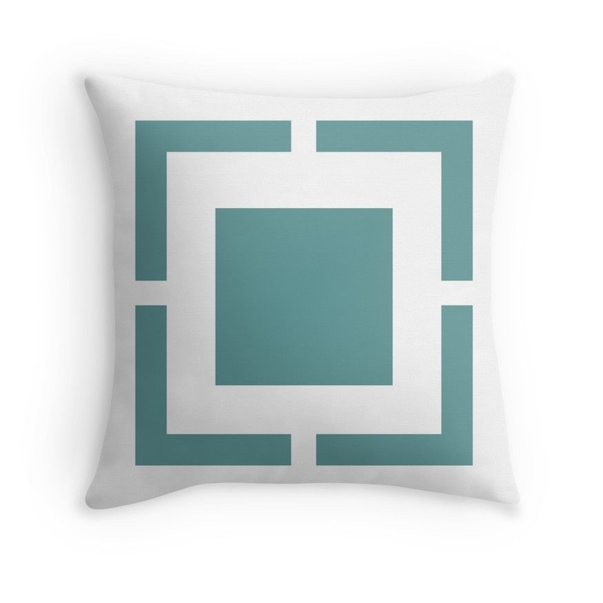 Squared Geometric Pattern In Teal Blue Green And White