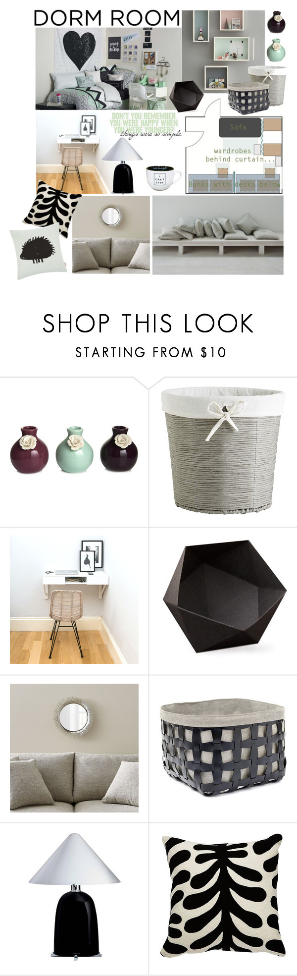 """Neutral Dorm Room"" by taci42 ❤ liked on Polyvore featuring interior, interiors, interior design, home, home decor, interior decorating, Pier 1 Imports, Kami Design, Crate and Barrel and Pinetti"
