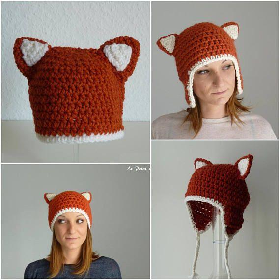 Patron chapeau bonnet péruvien oreilles de ranard au crochet 6 tailles bébé  enfant adulte facile débutant