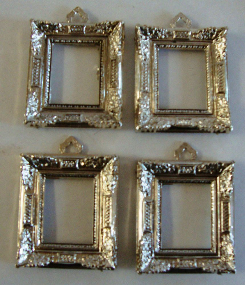 Lot of 4 vintage ornate dollhouse miniature silver plastic picture lot of 4 vintage ornate dollhouse miniature silver plastic picture frames jeuxipadfo Gallery
