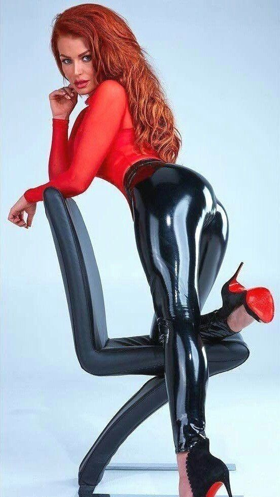 d2147fd4d07f0 Redhead woman in red long sleeve shirt wearing black leather pants Latex  Pants, Sexy Latex