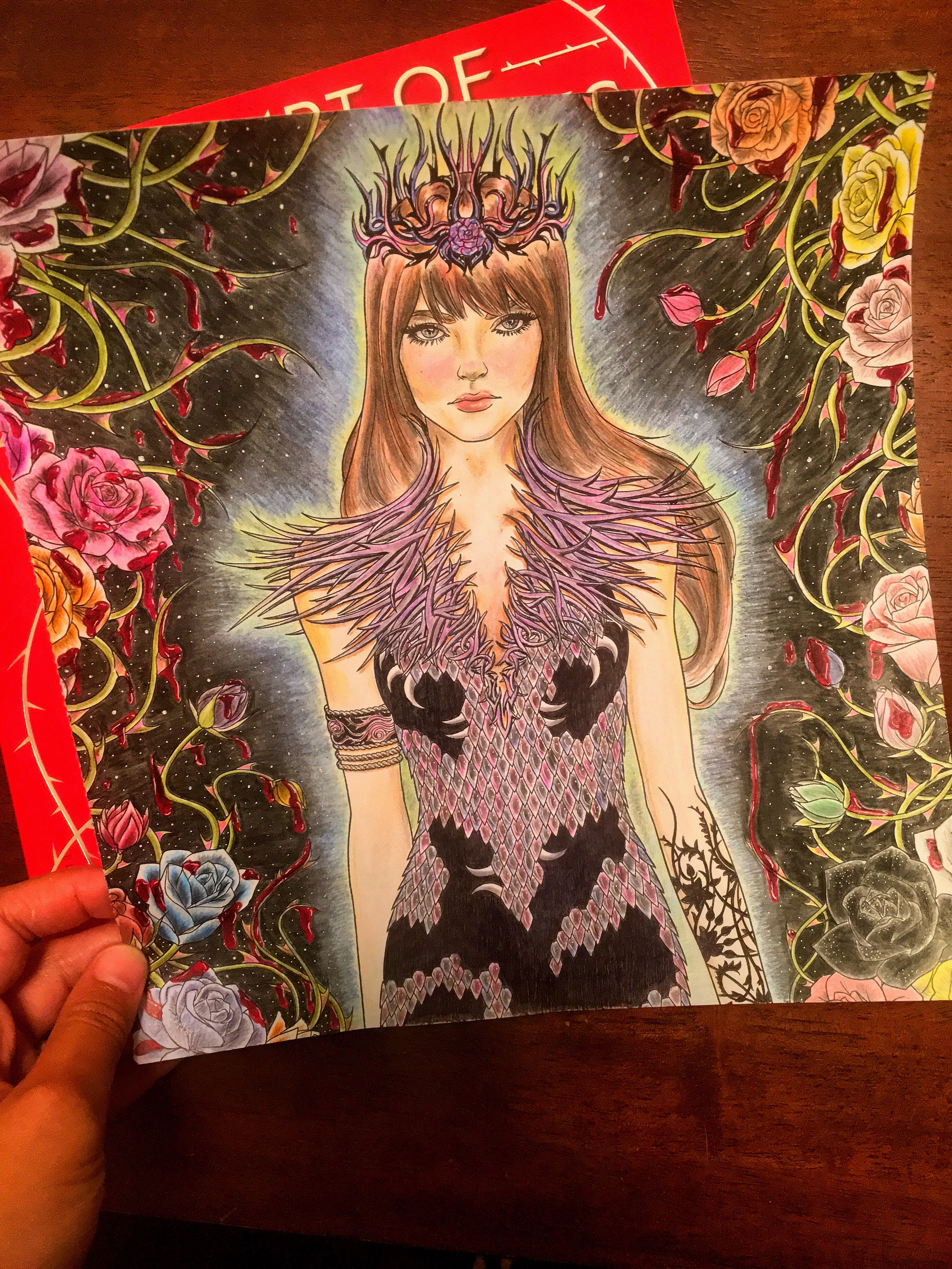 How I colored the first page of the ACOTAR coloring book. IG
