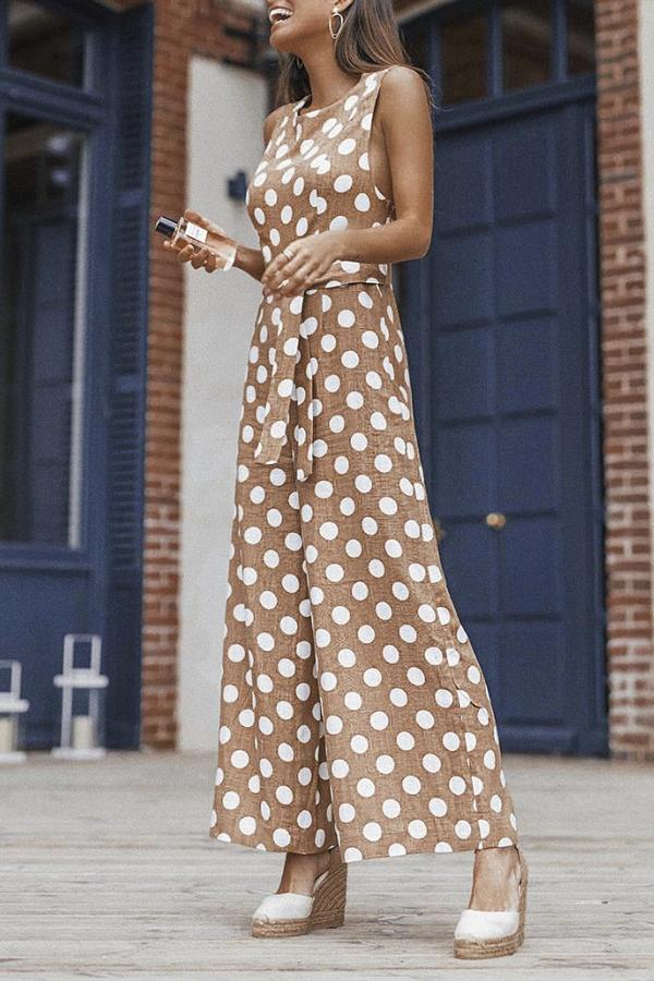63830a469d Sexy Polka Dot Sleeveless Wide Leg Jumpsuit  cute  fashion  look  dress   life  beautiful  design  bohemia  style  stylish
