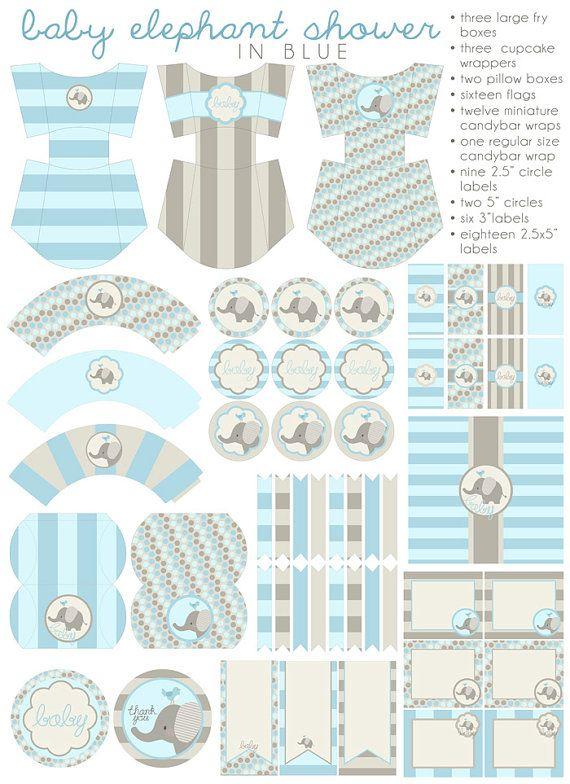 Blue Elephant Baby Shower Printables Pdf Printable By Dorkyprints