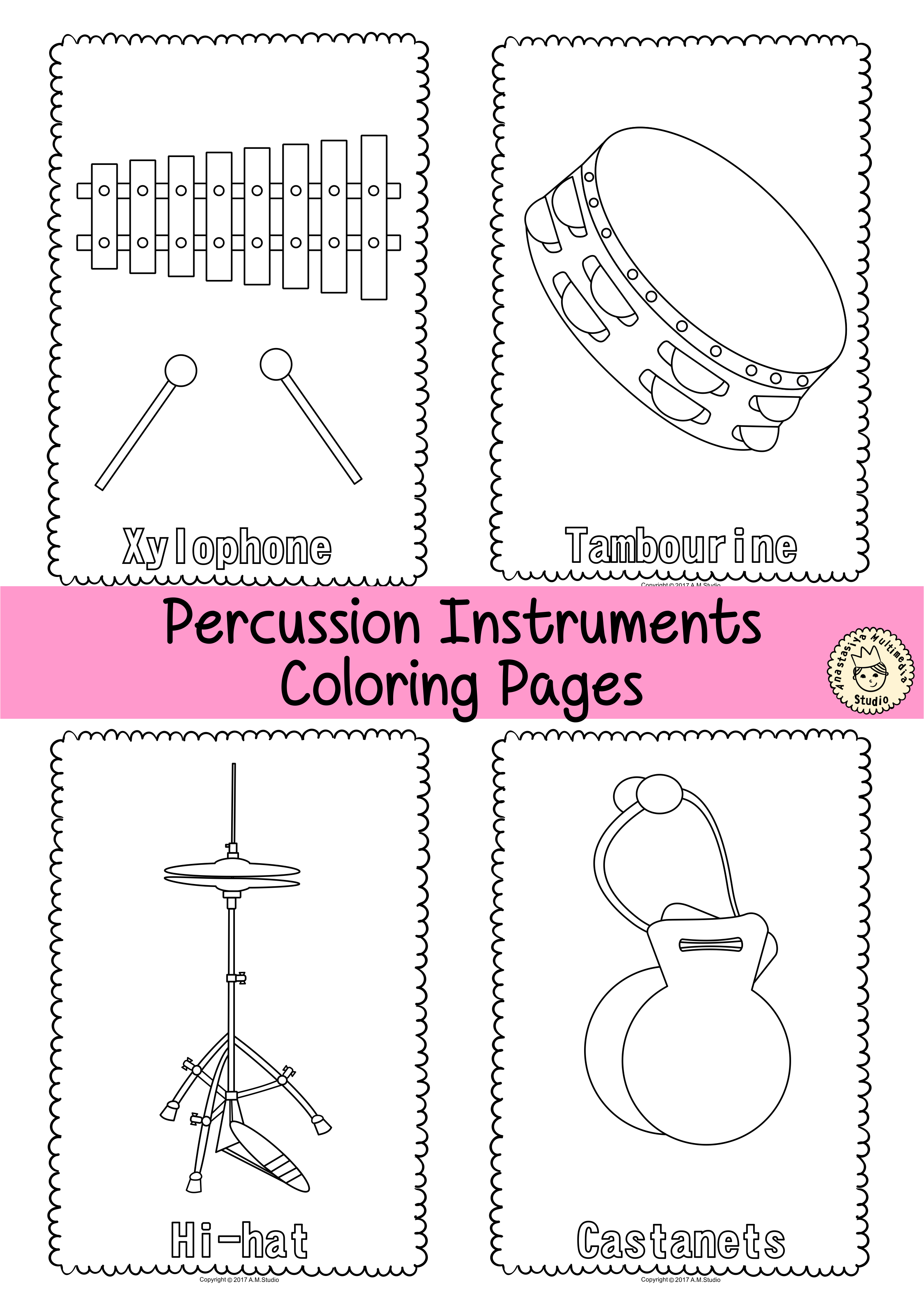 Musical Instruments Coloring Pages | Musical Instrument Activities ...