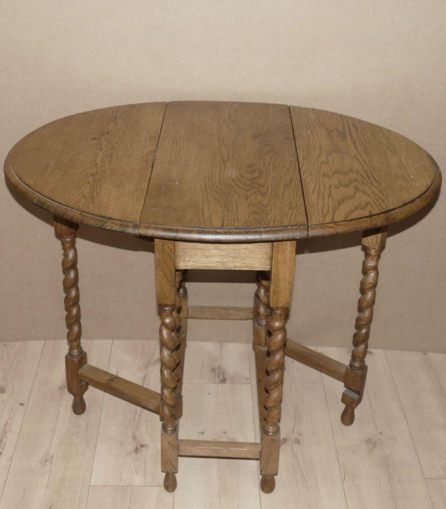 Kleiner Englischer Gateleg Table Eiche Gedrehte Beine