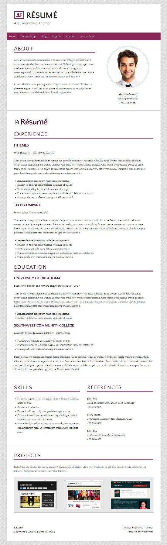 Résumé WordPress Theme AVJ Themes Online resume