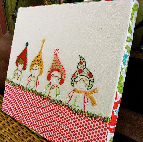 Christmas embroidery mounted oncanvas