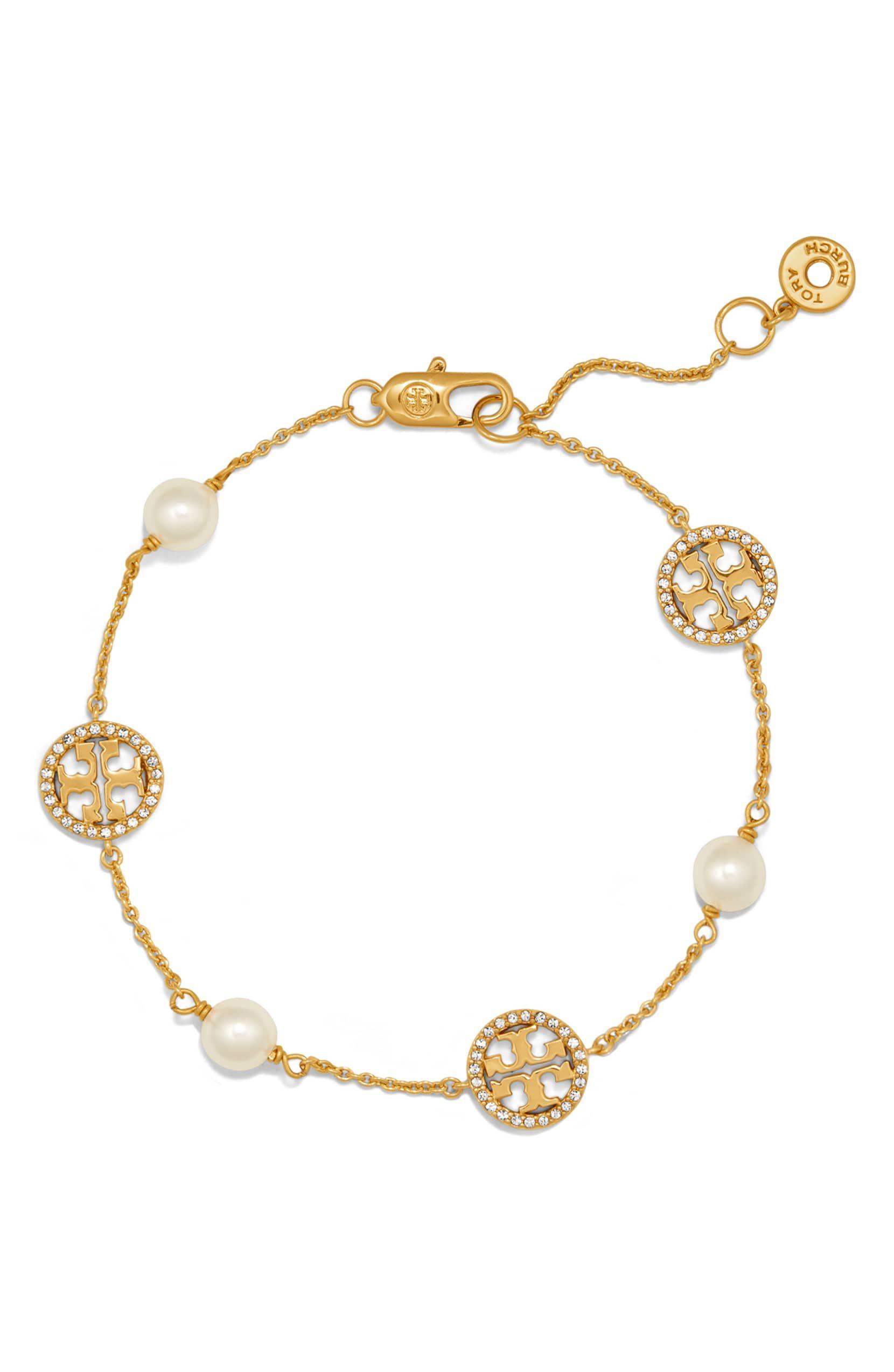 58503d1d61a42a Pavé Logo Bracelet, Main, color, TORY GOLD/ CRYSTAL/ PEARL ...