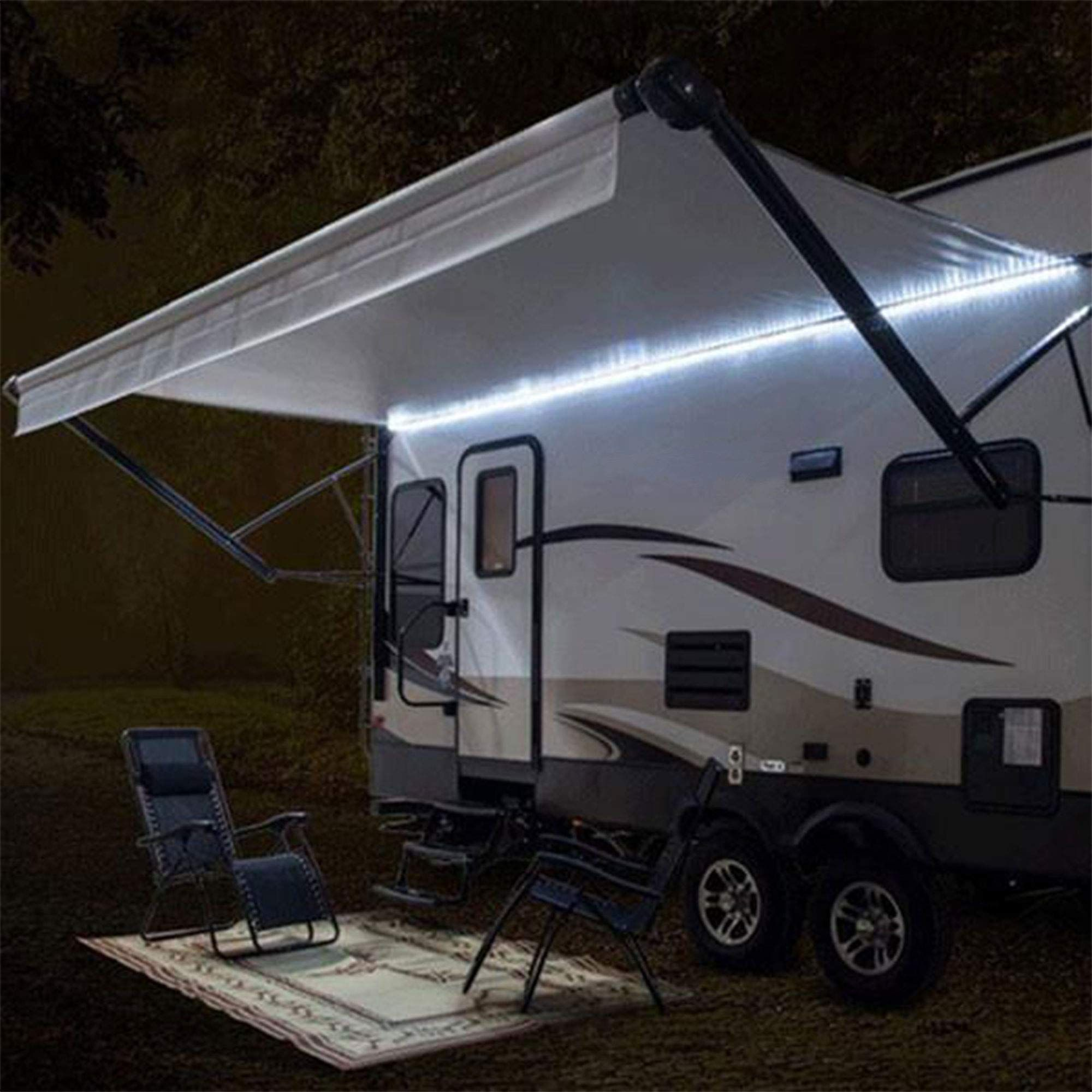 Recpro Rv White Led Awning Party Light W Mounting Channel And Black Pcb 12v Light 12 To View Furth In 2020 Rv Campers Motorhome Travel Trailer Motorhome Travels