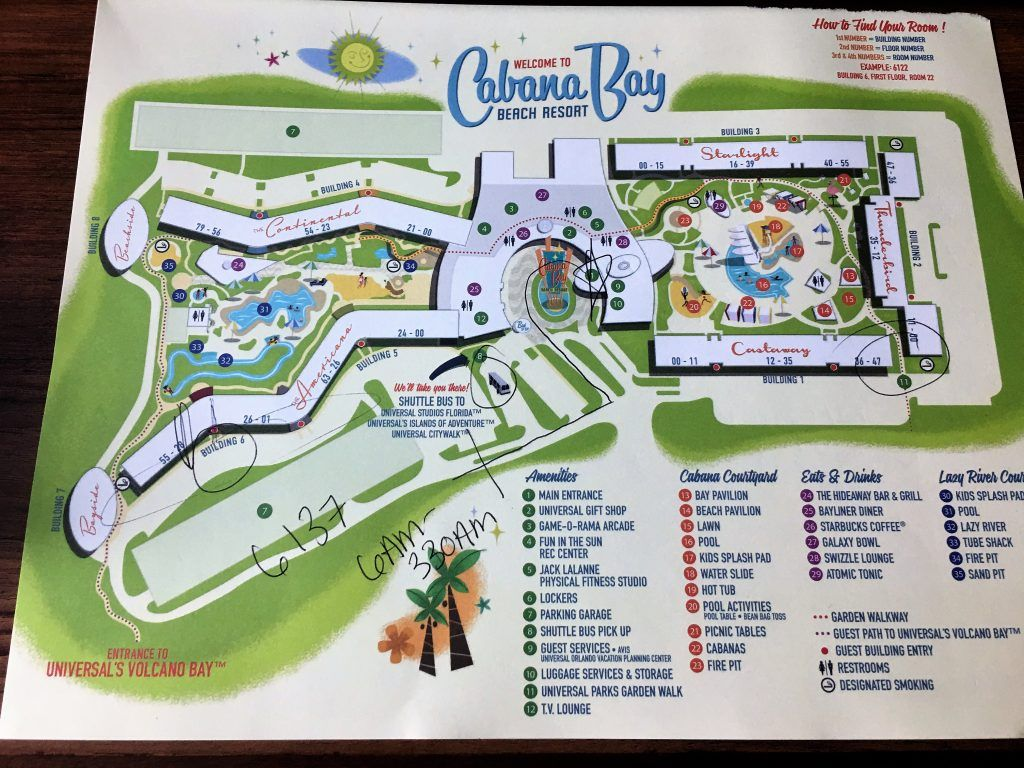 Map from front desk at Cabana Bay Beach Resort | Universal Orlando Cabana Bay Beach Resort Map on