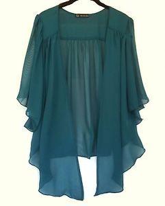 0f5a8b56de6b37 Womens TEAL Plus Size Chiffon Cardigan Bolero Shrug Top WearOrGoBare 1X,  2X, 3X | eBay