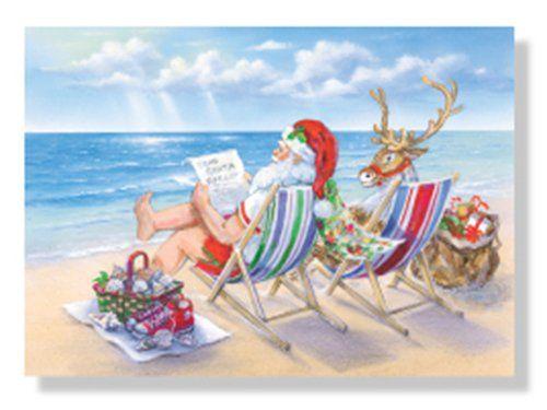 Christmas Cards Box Set 18 And Envelopes Santa Beach