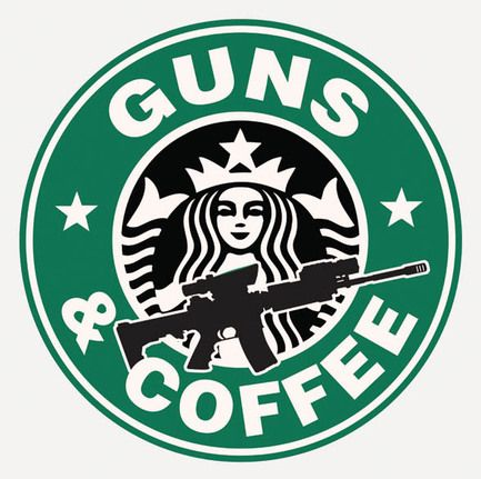 GUNS and Coffee patch glue// hook//loop starbucks tactical military morale I love