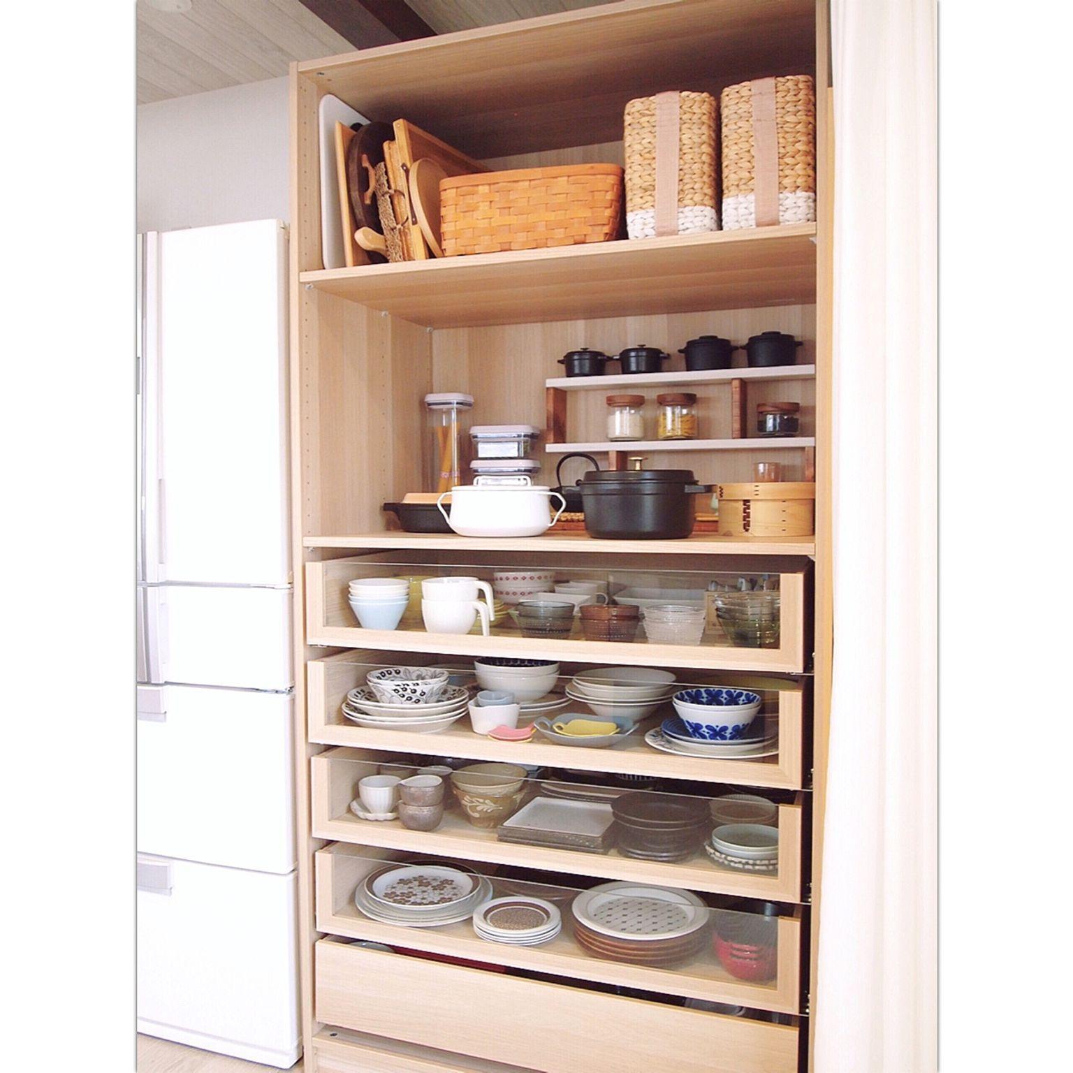 キッチン パントリー 収納 Ikea 見せる収納 などのインテリア実例