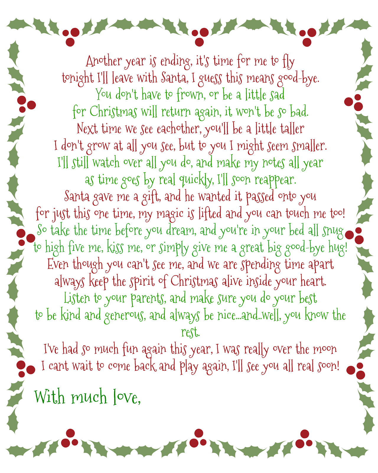It's A Mom's World Elf on the Shelf GoodBye Poem Elf