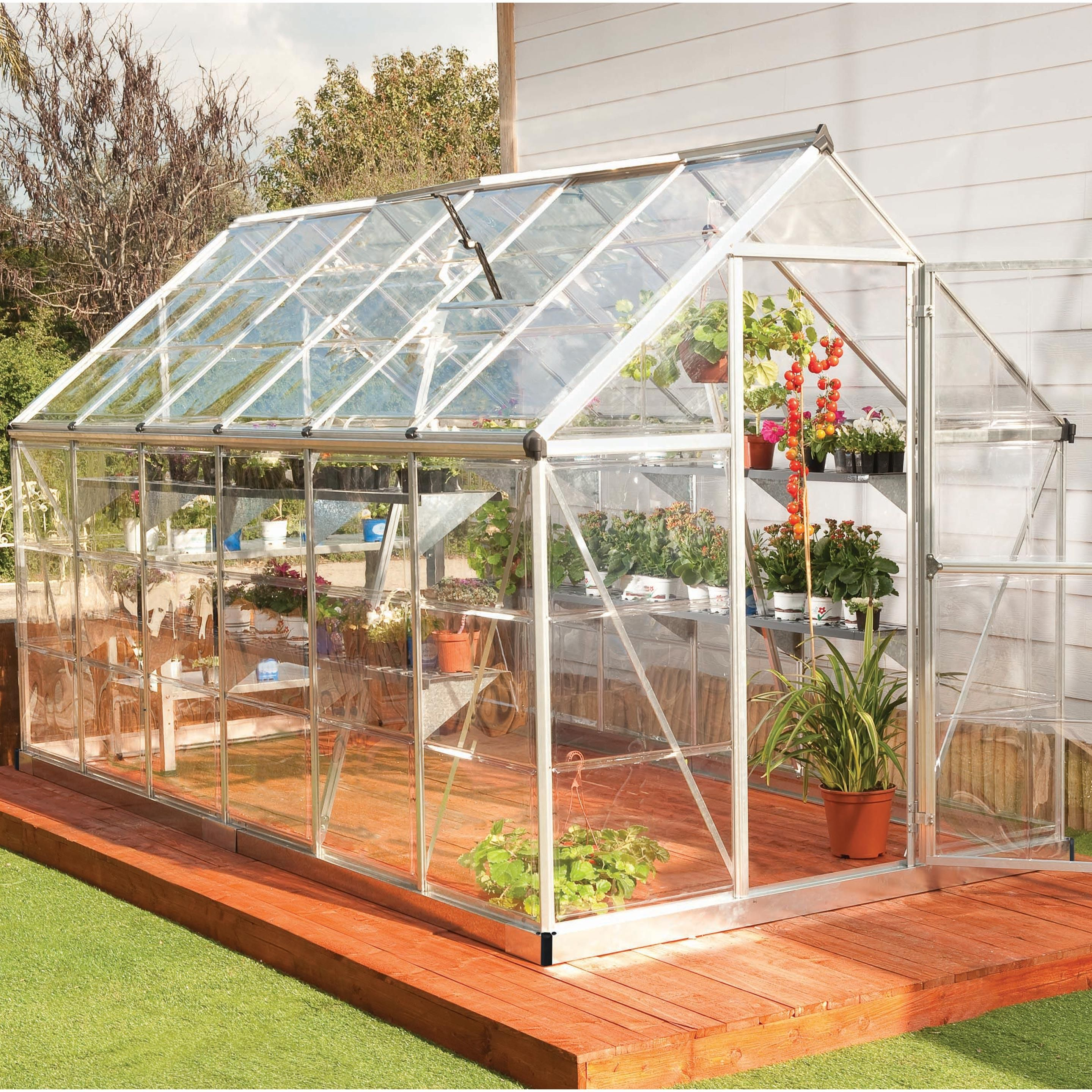 Serre De Jardin Argent Harmony 6 8 M Aluminium Et Polycarbonate Palram En 2020 Serre Jardin Petite Serre Et Maison Verte
