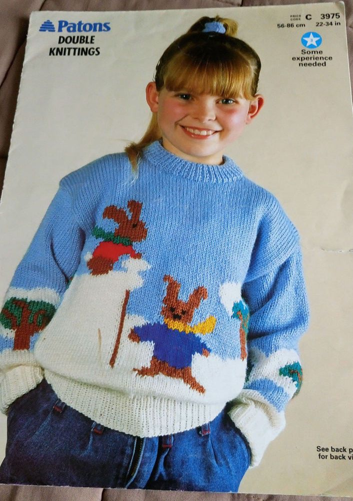 Childs Picture Knit Snow Rabbits Sweater Patons Knitting Pattern Dk