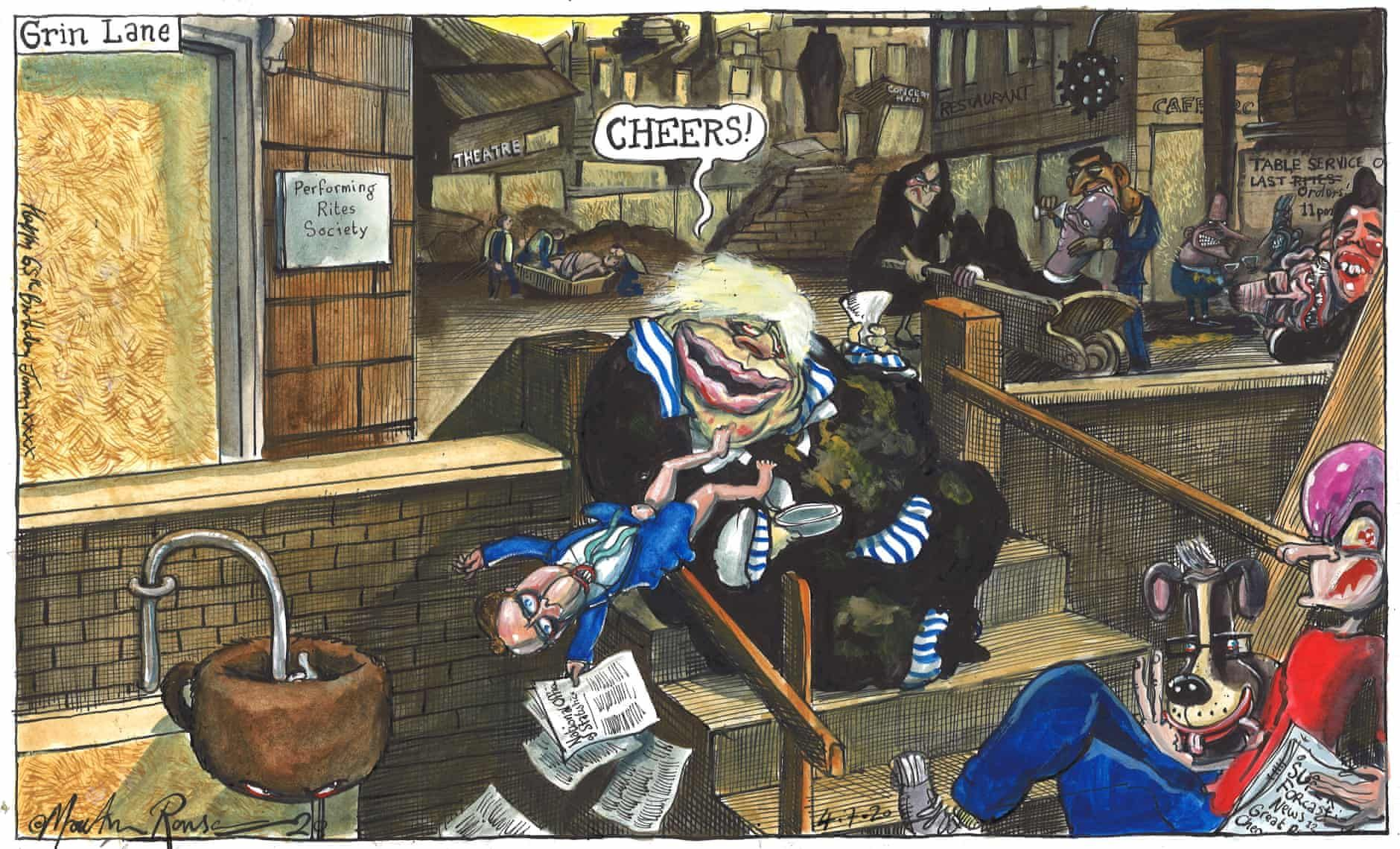 Martin Rowson on the reopening of English pubs cartoon