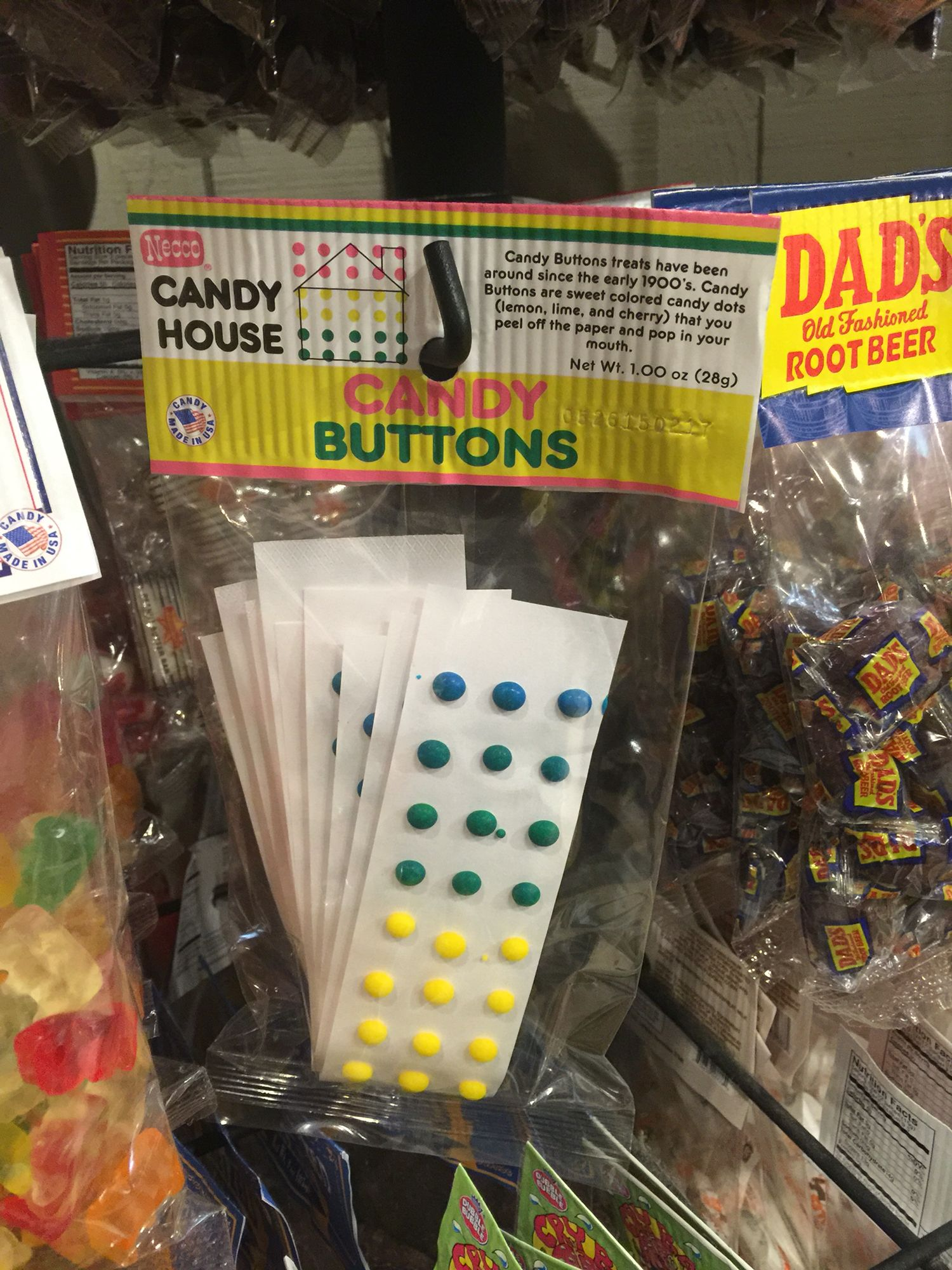 Cute candy buttons at Cracker Barrel. Would be fun for kids to add ...
