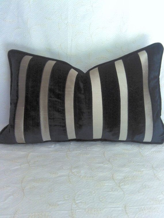 Black Taupe Black Velvet Taupe Silk Pillow Cover