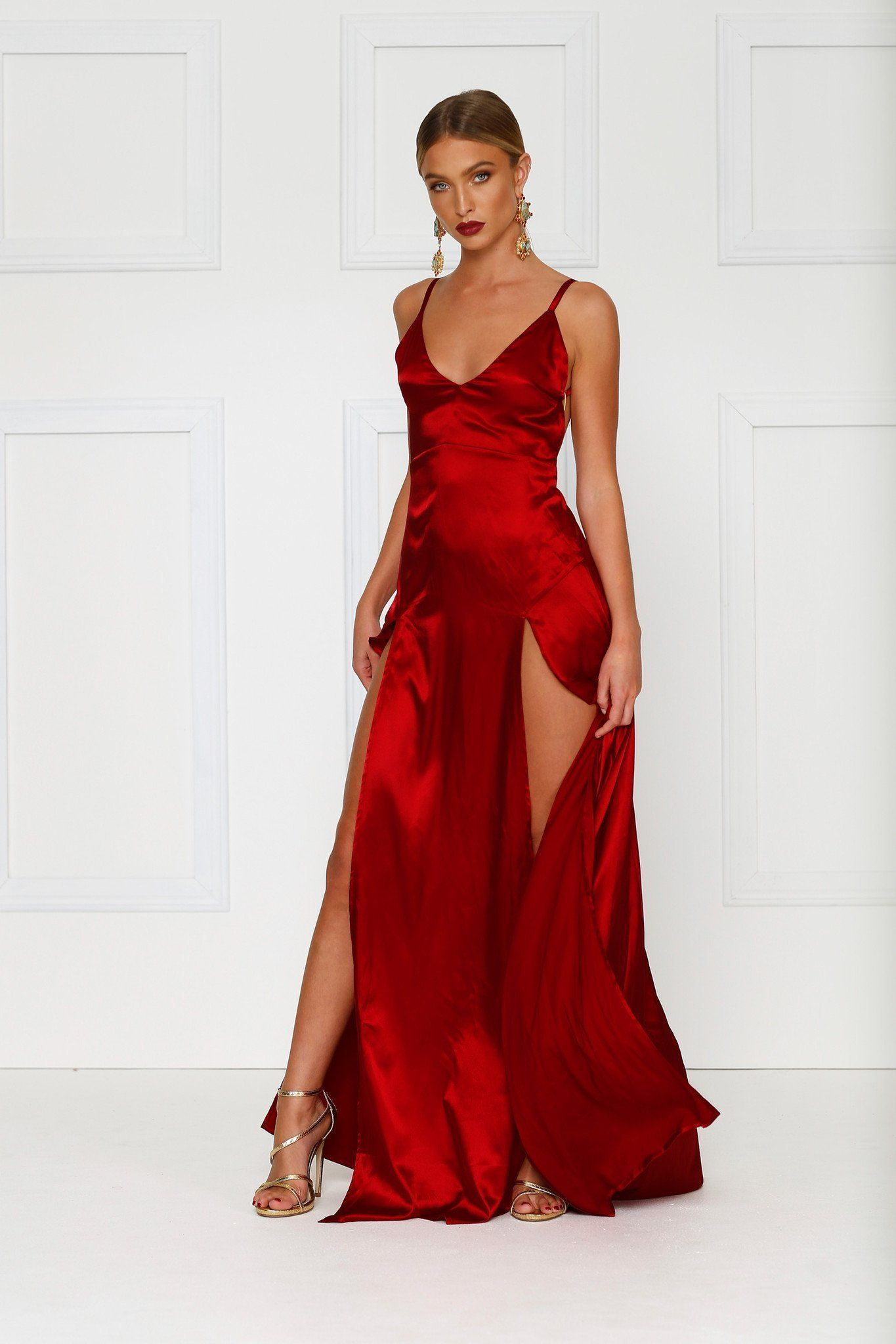 d83480bbc8 Alexis Dress - Wine Red Satin V Neck Side Slit Maxi Low Back Gown